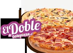 El Doble de Telepizza: 2 Medianas (hasta 3 ing)