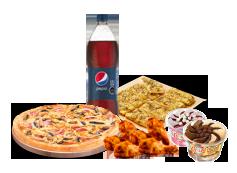 1 Pizza Mediana hasta 4 Ingredientes + bebida 1.5 Litros + Alitas de Pollo + Pan de Ajo 8 Unidades + 2 Helados Crazy.