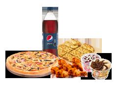 1 Pizza Mediana hasta 4 Ingredientes + bebida 1.5 Litros + Alitas de Pollo + Pan de Ajo Queso 8 Unidades + 2 Helados Crazy.