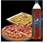 1 Pizza Familiar hasta 3 Ingredientes + Bebida 1.5 Litros + Pan de Ajo.