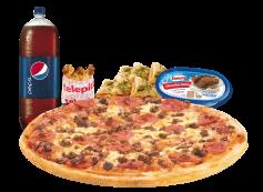 Pizza xl 3 ing. + bebida 3 Lt. + minicalzzone 6 un. + alitas de pollo + cassata