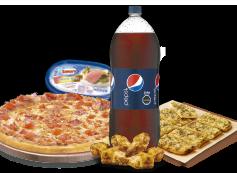 1 Pizza XL hasta 3 Ingredientes + Bebida 3 Litros + Pan de Ajo 8 Unidades + Alitas de Pollo + Cassata Brick.