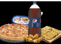 1 Pizza XL hasta 3 Ingredientes + Bebida 3 Litros + Pan de Ajo Queso 8 Unidades + Alitas de Pollo + Cassata Brick.