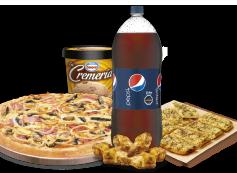 1 Pizza XL hasta 4 Ingredientes + Bebida 3 Litros + Pan de Ajo 8 Unidades + Alitas de Pollo + Helado La Cremería.