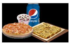 1 Pizza Personal hasta 3 Ingredientes + 1 Pan de Ajo 8 Unidades + Lata de Bebida + Helado Crazy.
