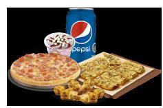 1 Pizza Personal hasta 4 ingredientes + Pan de Ajo 8 Unidades + Alitas de pollo + Lata de Bebida + Helado Crazy.