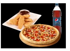 1 Pizza Mediana hasta 3 Ingredientes + Bebida 1.5 Litros + Chicken Tenders 6 unidades.