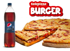1 Telepizza Burger Median + Bebida 1.5 Lts