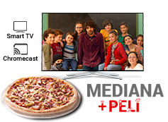 Tu pizza mediana favorita (hasta 5 ing.) y película por 12,95€