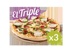El triple de Telepizza: 3 medianas (hasta 5 ingr.) por 7€ cada una.