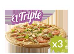El Triple de Telepizza: 3 familiares (hasta 5 ingr.) desde 11€ cada una