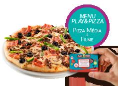 Play&Pizza: 1 Pizza média (até 4 ingr) + Filme