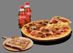 Combo con pizza pequeña tradicional, minis a elegir y 2 botellas de 0,5 cl.