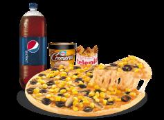 Pizza familiar 4 ing. + bebida 3 Lt. + alitas de pollo  + helado la cremeria