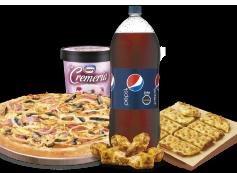 1 Pizza XL hasta 4 Ingredientes + Bebida 3 Litros + Pan de Ajo Queso 8 Unidades + Alitas de Pollo + Helado La Cremería.