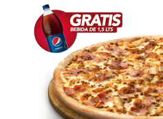 1 Pizza Familiar hasta 3 ingredientes + Bebida 1.5 Litros.