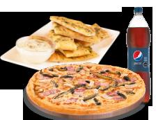 1 Pizza Mediana hasta 3 Ingredientes + Bebida 1.5 Litros + Pan de Ajo Queso 8 Unidades.