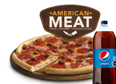1 Pizza Familiar American Meat o hasta 3 ing. + bebida 3L.