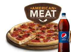 1 Pizza Familiar American Meat o hasta 3 ing. + bebida 1,5L.