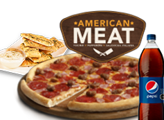 1 Pizza Familiar American Meat o hasta3  ing. + bebida 1,5L + Pan de ajo.