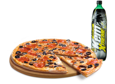 1 Pizza Familiar hasta 4 Ingredientes + Bebida Kem Xtreme 1.5 Lts.