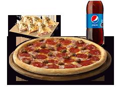 1 Pizza XL Clasica, favorita o hasta 3 ing  + Minicalzzone 6 UND ó Pan de ajo + Bebida 3 Lts.