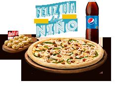 Pizza mediana Clásica, Favorita o hasta 3 ing. + Bebida 1.5 L + Rolitos 12 Un.