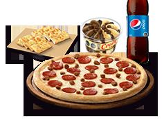 1 Pizza Personal Clásica, Favorita o hasta 3ing + Bebida lata + Pan de ajo queso 8 UND. + Crazy