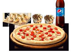 1 Pizza Mediana Clásica, Favorita o hasta 3 ing + Bebida 1,5 L + Minicalzzone 6 UND. + 2 crazy
