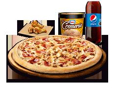 1 Pizza Familiar Especial o hasta 5 ing. + Bebida 3L + Alitas de pollo + La cremería