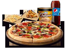 1 Pizza XL Especial o hasta 5 ing + Bebida 3L + Pan de ajo + Alitas de pollo + La cremería