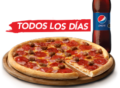 Pizza Mediana Clásica, Favorita o hasta 3 ing + Bebida 1.5 L. Exclusivo Online.