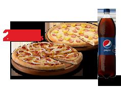 2 Pizzas Medianas Clasicas o hasta 2 ing. +Bebida 1.5 L.