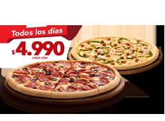 2 Pizzas Medianas Clásicas, Favoritas o hasta 3 ing.
