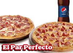 2  Pizzas Medianas  Clásicas, Favoritas o hasta 3 ing + bebida 1,5L.