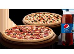 2 Pizzas Familiares Clásicas o Favoritas o hasta 3 ing + Bebida 3L.