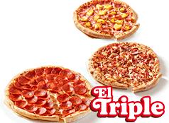 3 Pizzas Familiares  Clásicas, Favoritas o hasta 3 ing.