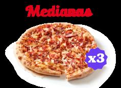El Triple: 3 pizzas medianas por 6€ cada una por 6 telepicoins
