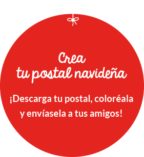 ¡Crea tu postal navideña! ¡Descarga tu postal, coloréala y envíasela a tus amigos!