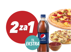 2 za 1 Extra: 2x mała pizza + sos + 1L Pepsi