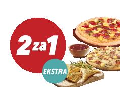 2za1 Extra: 2x mała pizza + sos + Mini-Calzzone