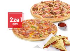 2za1 Extra: 2x średnia pizza + sos + Mini-Calzzone
