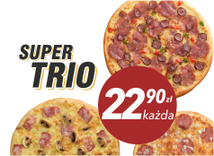 22,90 zł pizza duża do 4 skł. x 3
