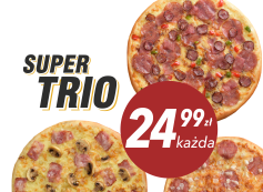 24,99 zł pizza duża do 4 skł. x 3