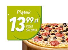3 średnie pizze klasyczne - każda za 13,99 zł