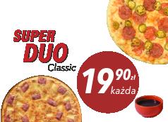 19,90zł Średnia pizza Klasyczna x 2 + sos Gratis