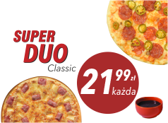 21,99 zł średnia pizza klasyczna x 2 + sos Gratis!