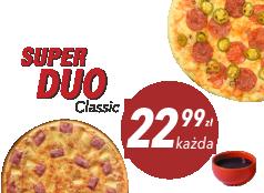 22,99 zł średnia pizza klasyczna x 2 + sos Gratis!