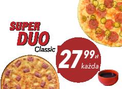 27,99zł duża pizza Klasyczna x 2 + sos Gratis!