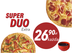 26,90zł Duża pizza do 4 skł. x 2 + sos Gratis